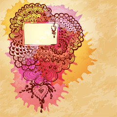 Vector watercolor abstract design with doodle heart