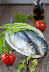 Salted herring  with green onion and tomatoes