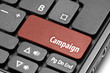 Campaign. Red hot key on computer keyboard