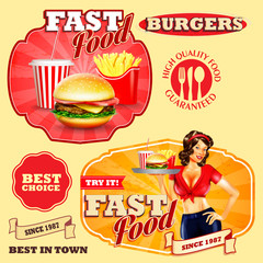 badges and stickers  for fast food