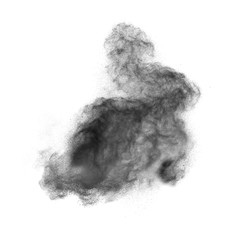 Black powder explosion isolated on white