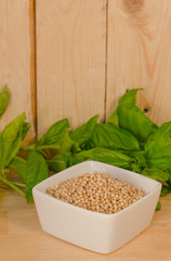 bowl with sorghum with basil