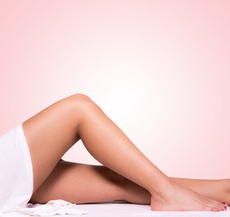 Beautiful legs with pink background