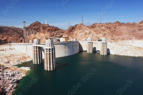 In de dag Dam View of the Hoover Dam and Lake Mead