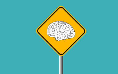 brain in traffic sign