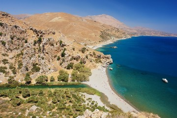 View from the hill on the beach Preveli, Crete