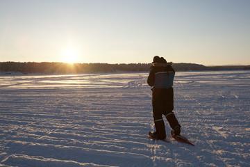 Snow Shoer at Sunset