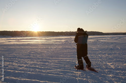 Snow Shoer at Sunset