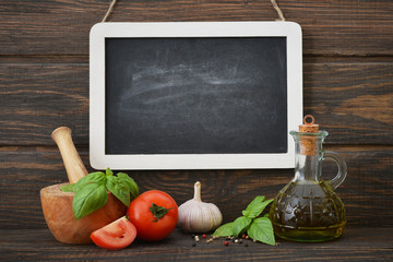 Blackboard with food ingredients