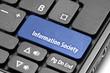 Information Society. Blue hot key on computer keyboard