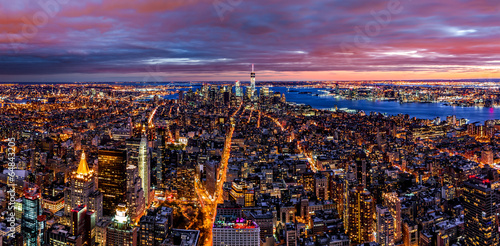 Aerial New York panorama at dusk