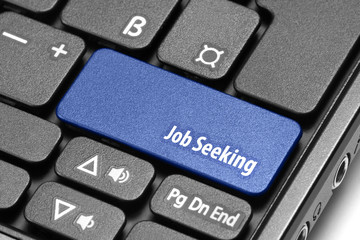 Job Seeking. Blue hot key on computer keyboard