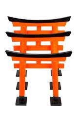 Three of orange Torii from Japan on white background, isolated