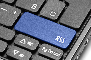 RSS. Blue hot key on computer keyboard