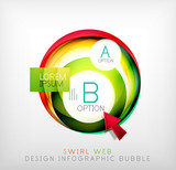 Swirl web design infographic bubble - flat concept