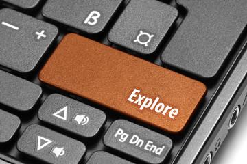 Explore. Orange hot key on computer keyboard