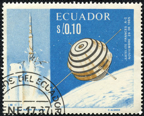 stamp printed in Ecuador shows the first French satellite A-1