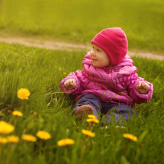 Little girl on a green meadow