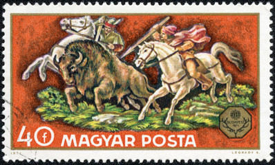 stamp printed in Hungary shows hunting bison