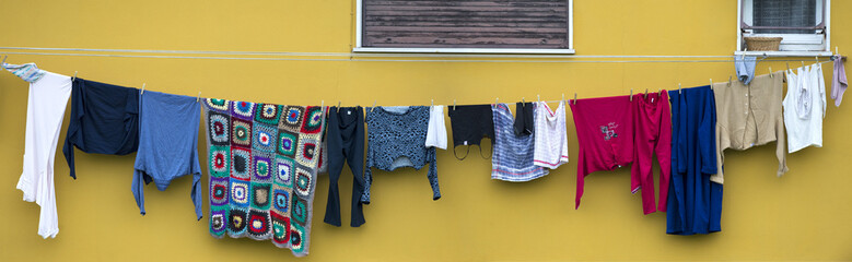 clothes hanging outside.