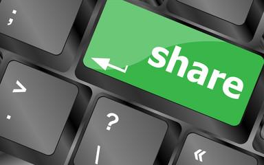 share keyboard keys button close-up