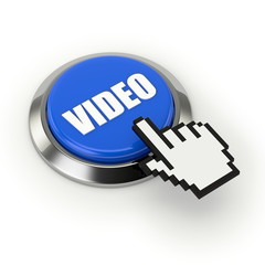 Blue video button with steel border and mouse hand