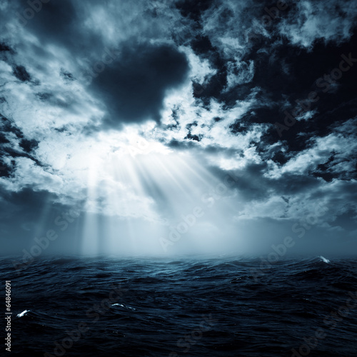 Tuinposter Water New hope in the stormy ocean, abstract environmental backgrounds