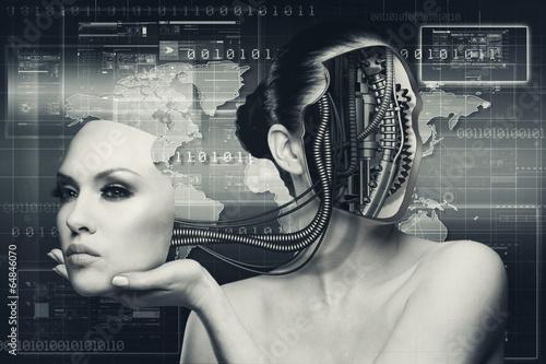 Poster Adult pretty woman stylish portrait. Skin texture saved