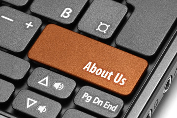 About Us. Orange hot key on computer keyboard