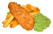 Fish And Chips With Mushy Peas - 64847095