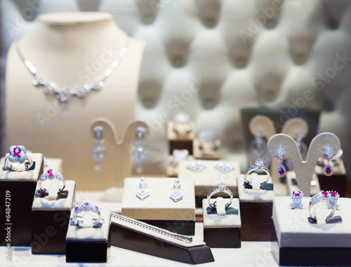 counter with silver jewelry - 64847209