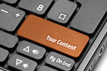Your Content. Orange hot key on computer keyboard