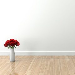 Natural light empty interior with rose