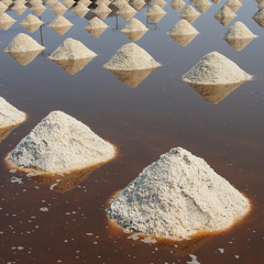 Heap of sea salt in salt farm, Thailand