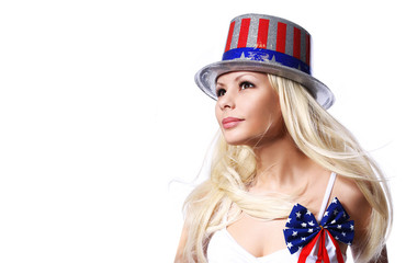 Patriotic  Woman with American Flag print on Hat isolated