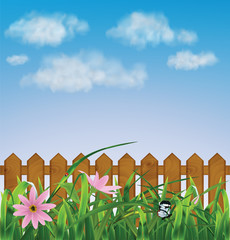 Grass with pink flowers, leaf, fence. Illustration