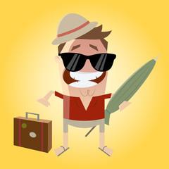 urlaub koffer packen sonnenschirm reise