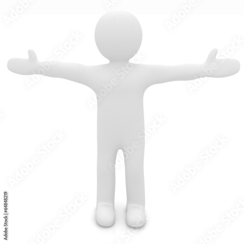 3d man isolated on white. Series: morning exercises - arms to th