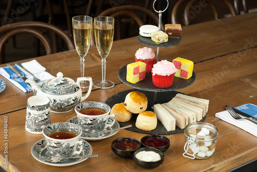 Canvas Assortiment Champagne Afternoon Tea with Scones, Sandwhiches and Cakes