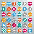 36 Colored Buttons Arrows Circles