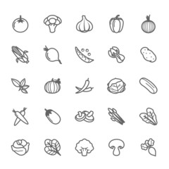 Set of Outline stroke Vegetable icon