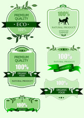 Eco labels with retro vintage design. Vector illustration
