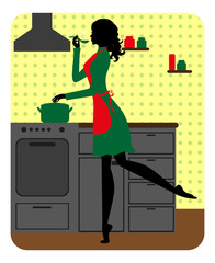 Silhouette of beautiful girl cooking