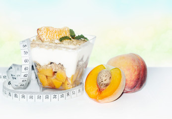 Diet dessert with peaches