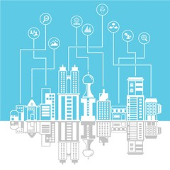 city skyline background, data and network concept