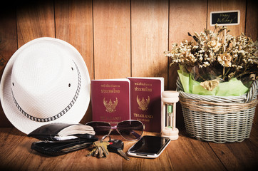 Still life concept of traveling all over the world