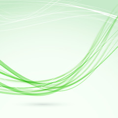Green abstract wave lines modern flyer