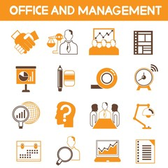 office and management icons, orange theme color