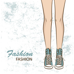 Female slim legs in the sneakers. Vector