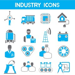 industry icons, blue theme color